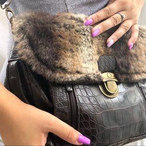Handbags - Faux Fur Croc Crossbody Handbag